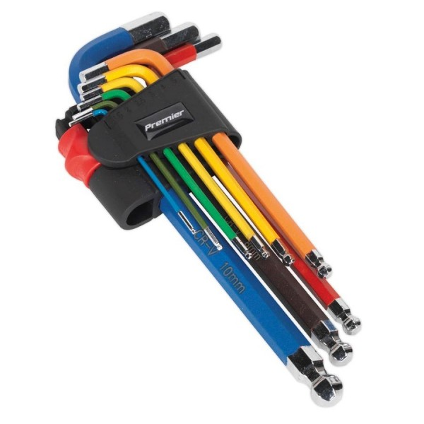 Sealey 9pc Colour-Coded Ball-End Hex Key Sets Metric logo