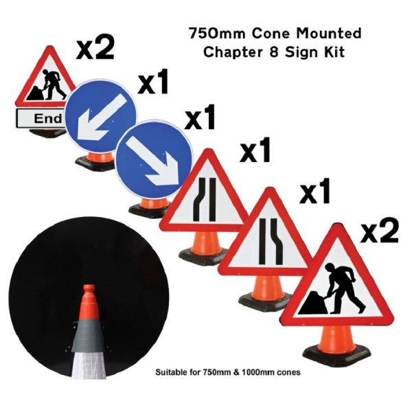 Cone Mounted Sign Kit - Chapter 8 Streetworks logo