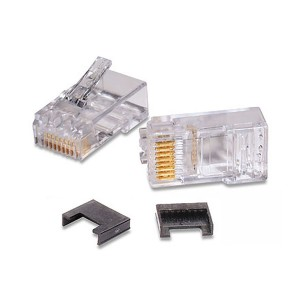 RJ45 Plug 8P8C Cat5e Unshielded Round 4.8mm-5.6mm 26-23 AWG Stranded, 26-23 AWG Solid Two-Part Clear MP-5EU-1