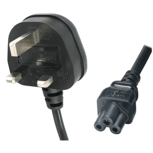 Power Lead UK 3A Plug C5 IEC Clover H05VV-F 3X0.75mm2 Black (L)2Mtr