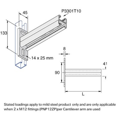 Unistrut Channel Support Double Cantilever Arm Comtec Direct