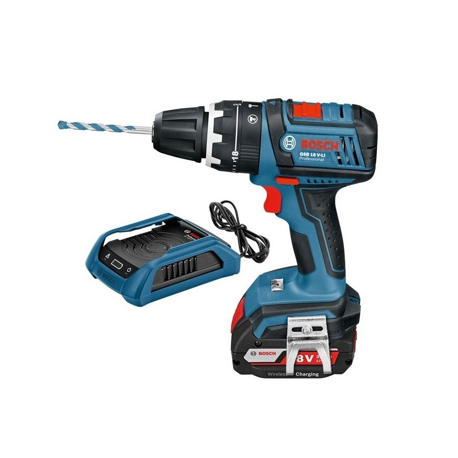 bosch professional cordless combi drill gsb 18 v li with wireless charging comtec direct. Black Bedroom Furniture Sets. Home Design Ideas