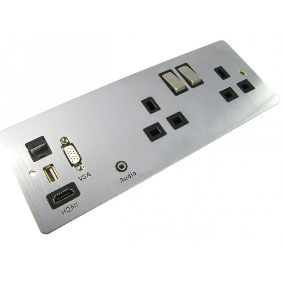 Nexxia Power With Av Outlet Faceplates Comtec Direct Wiring Wall Plates Hotel Media Plate Custom 35mm Jack Hdmi Rj45 Cat6 Usb Charging Vga Brushed Stainless H86mm X W206mm