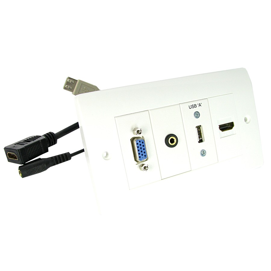 Nexxia Av Loaded Modular Wall Plates With Cables Comtec Direct Audio Wiring Plate Quick Connect Vga Hdmi Usb Double Gang White L10mtr Loom Nx A012 10